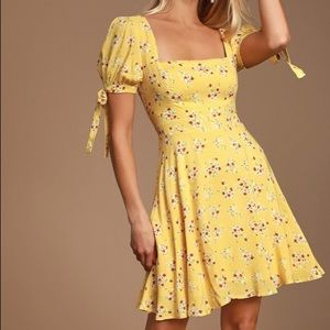 lulu's camelia curtsies yellow floral skater dress